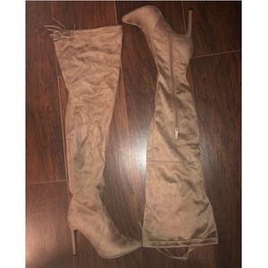 Breckelle's Taupe Suade Over the Knee Boots